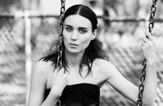 Quiet Grayscale Editorials - The ELLE US Francisco Costa Photoshoot Stars Muse Rooney Mara