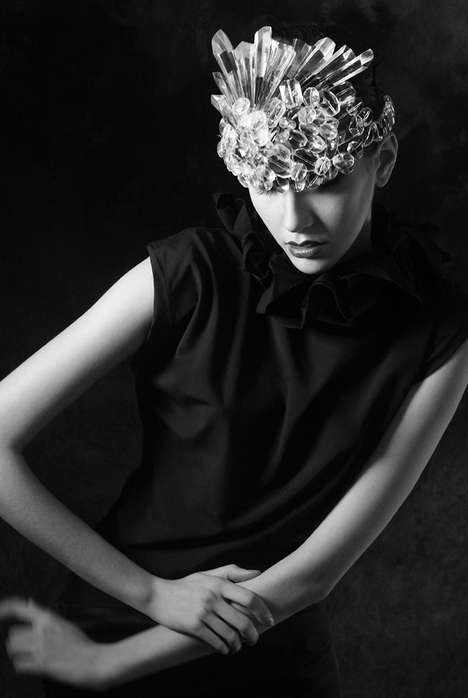 Crystallized Headpiece Captures - The Hannah Elizabeth Kalman by Alban Smajli Editorial is Eclectic