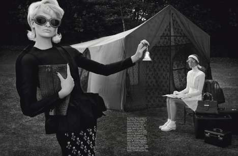 Couture Camping Editorials - This Vogue Italia September 2013 Shoot is Full of Outdoor Glamour