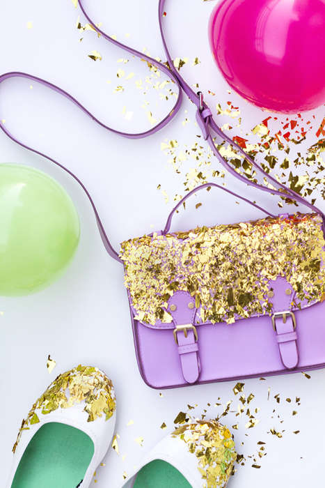 Festive DIY Accessory Accents - These Confetti-Dipped Flats and Purses are Ideal for any Celebration