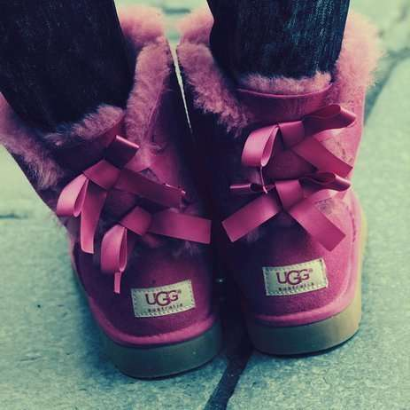 Laced Ballerina Boots - These Pink Ugg Australia Boots Feature Silky Laced Up Backs