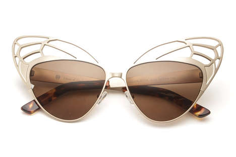 Theatrical Cat-Eye Shades - These Scarlette Sunglasses from 80s Purple Embody Eccentric Glamour
