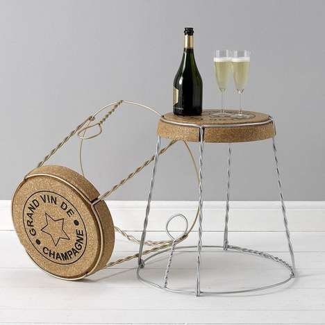 Giant Champane Cork Tables - This Champagne Cork Table Features a Stylish Wire Cage Design