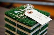 Grassy Baseball Coasters - These Turf Base Coasters Allow You to Bring the Field Home