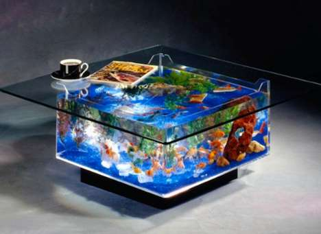 Stunning Live Fish Furniture - This Aquarium Coffee Table Lets Your Fish Take Part in Family Time