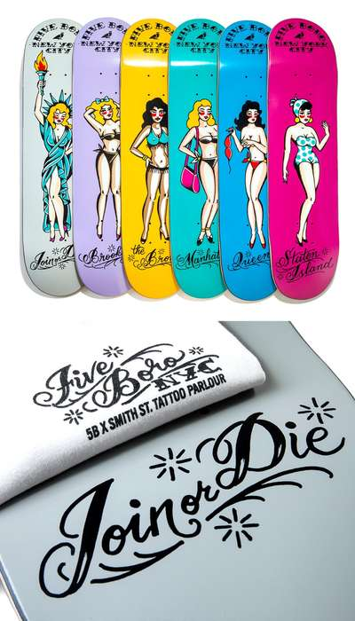 Scandalous Skateboard Decks - 5boro and Smith Street Tattoo Parlor Drop These Custom Skate Decks