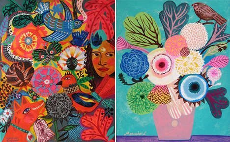 Floral Opulence Artworks - The Boho Garden Portrait Series by Mercedes Lagunas is Eclectic