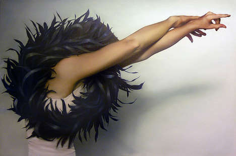 Avian Crown Paintings - Artist Amy Judd Creates Whimsical Images of Faceless Figures