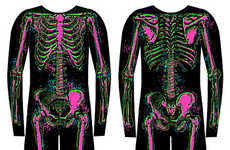 X-Ray Highlighter Onesies - These Electric Skeleton Footie Pajamas from Plasticland are Spooky