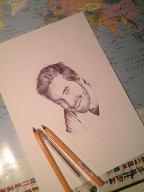Picture-Perfect Pen Portraits - Gareth Edwards Makes Ballpoint Pen Drawings of Celebrities
