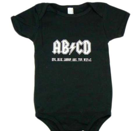 Hard Rock Baby Clothes - This ABCD Onesie Pays Tribute to ACDC