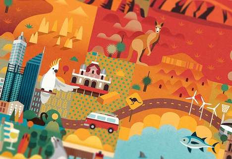 Vibrantly Illustrated Tourism Maps - Jimmy Gleeson's Discover Australia Map is Intricately Don