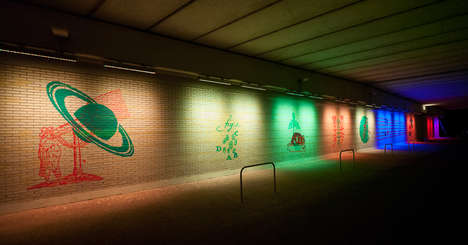 Electrifying Urban Tunnel Art - Take a Walk Through Geert Mul's Captivating Light Art Installa