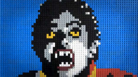 8-Bit Pop Culture Remakes - The Lego Thriller by Annette Jung is Building-Block Infused