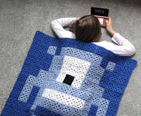 Retro Gamer Quilts - The Pixel Plaid Invader Blanket Leaves one Nostalgic