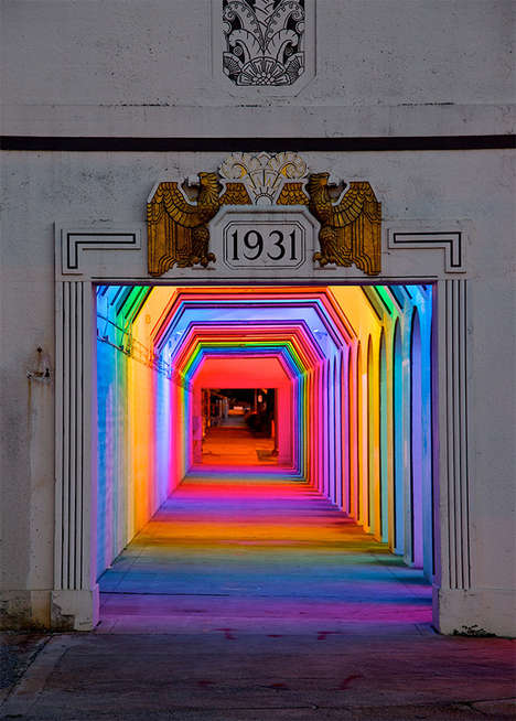 Electric Rainbow Railroads - Artist Bill FitzGibbons Lights Up with LightRails Art Installation