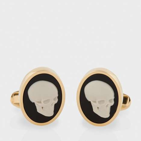 Gold Skeletal Cufflinks - The Skull Cameo Cufflinks are an Interesting Way to Spruce up Outfits