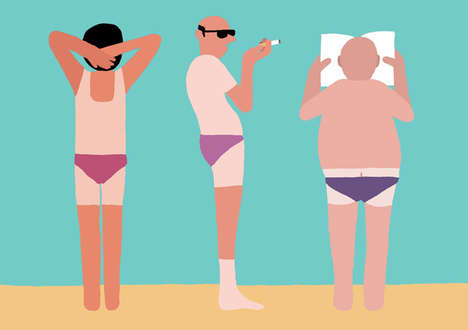 Cheeky Beach Illustrations - This Jean Jullien Art Collection Celebrates Body Imperfections