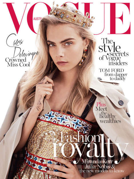 Glamorously Regal Magazine Covers - Cara Delevingne Wears a Crown for Vogue Australia October 2013