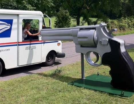 Gun-Shaped Letterboxes - The Massive .44 Magnum Letterbox Barrel Weighs 1,500 pounds