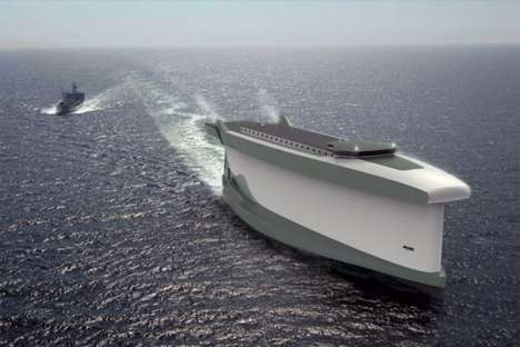 Conceptual Wind-Powered Cargo Ships - The Lade as Windship is an Eco-friendly Shipping Sailboat