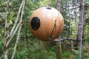 The Spherical Tree House Hotel is Suspended 15 Feet in the Air