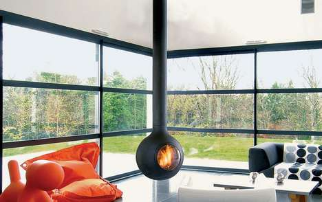 Hovering Orb Fire Pits - The 'Bathyscafocus' Fireplace by Focus is a Truly Modern Design