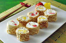 Fusion Dessert Sushi Rolls - These Waffle Breakfast Sushi Rolls Don't Need Soy Sauce