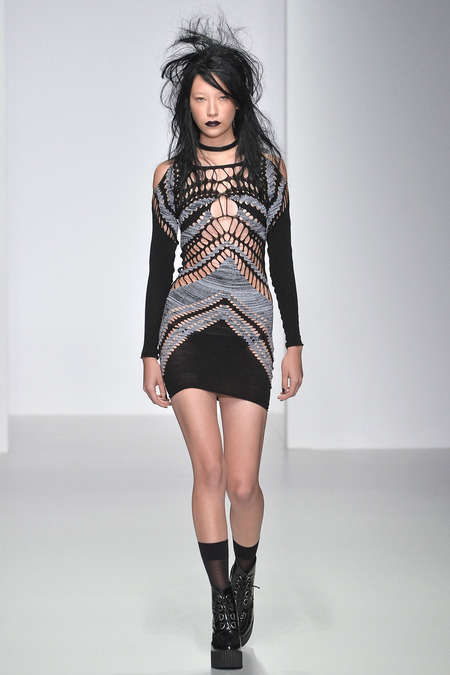 Dishevelled Grungy Knit Runways - The Mark Fast Spring 2014 Show Was Inspired by a Wild Party Girl