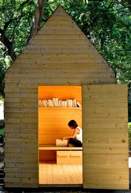 Portable Portuguese Libraries - The Reading Cabin is a Rustic Literary Hideaway