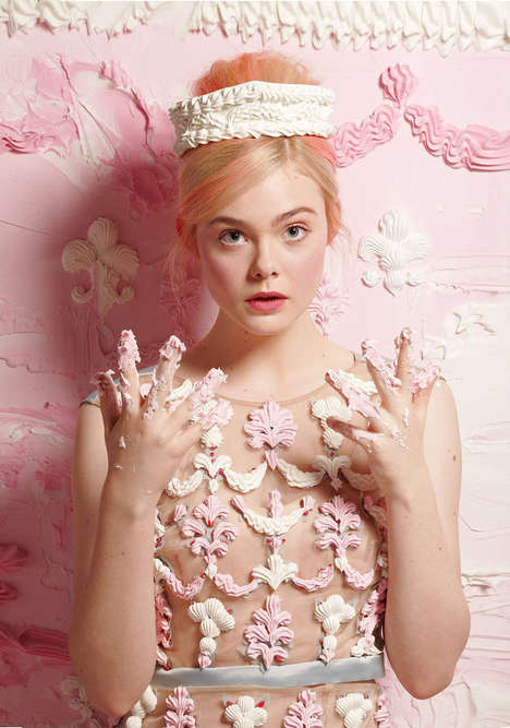 Indulgently Sweet Starlet Editorials - This Elle Fanning Magazine Feature Has Decadent Fashion