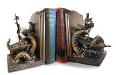 Sea Monster Sculpture Bookends