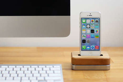 Weighted Wireless Smartphone Docks - Grove's Wood iPhone Dock is an Understated Sensation