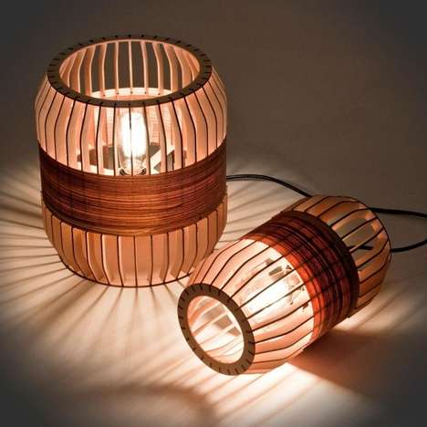 Shuttered Lantern-Like Lighting - The Cylinder Lath Lamp by Jonathan Dorthe Sheds a Warm Glow