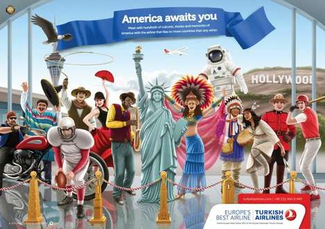 Culturally Colorful Campaigns - These Turkish Airlines Ads are Filled with Iconic Landmarks