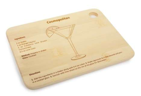 Recipe-Covered Cutting Boards - The Mixology Bar Board Will Have You Making Drinks Like a Pro