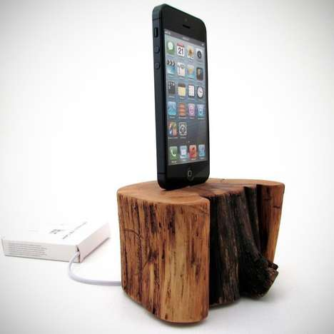 Tree-Stump Smartphone Chargers - The Cedar Stump by Dock Artisan is a Functional Work Of Art