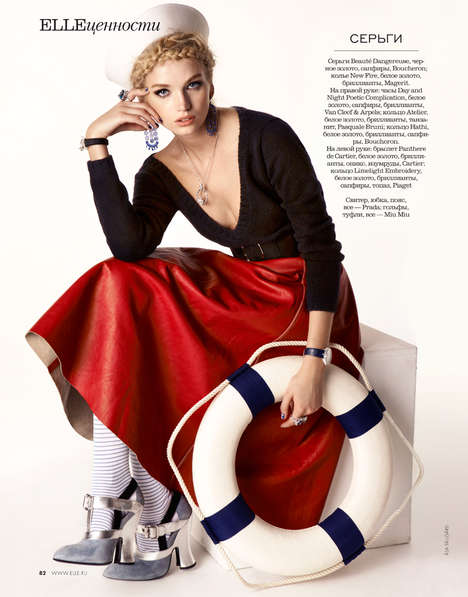 Feminized Nautical Fashion - The ELLE Russia October 2013 Editorial Stars Model Diana Khullina