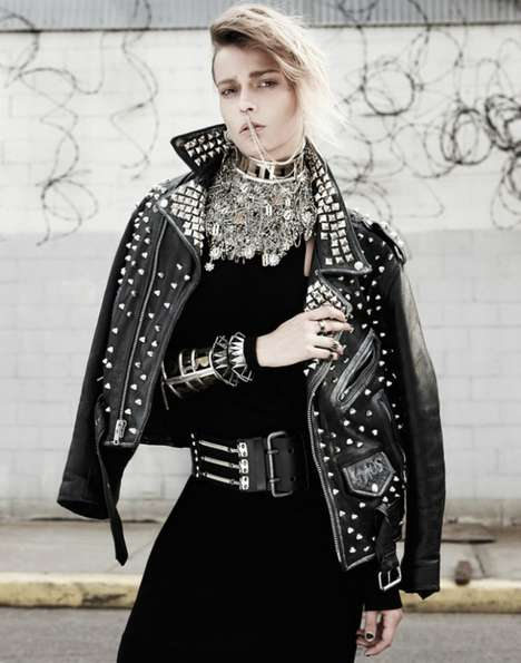 Bling-Loving Punk Editorials - Martha Streck Gets a Glitzy Punk Makeover in this Fashion Photo Shoot