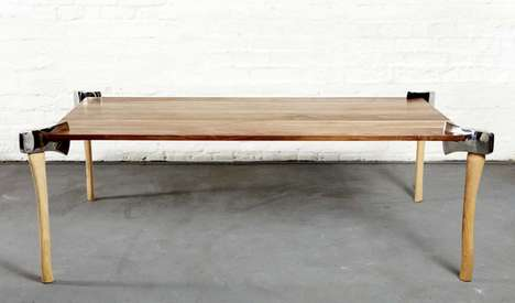 Handyman Coffee Counters - This Wooden Coffee Table is Supported by Axes