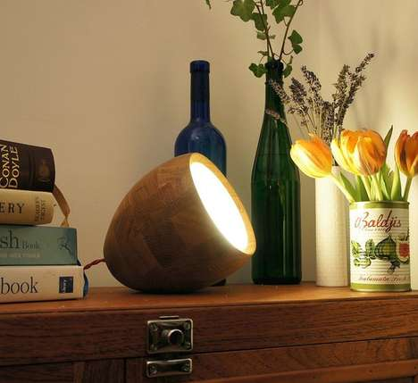Ovular Mobile Limelights - This Oak Spotlight Lamp Adds a Modern Cottage Feel to Your Home
