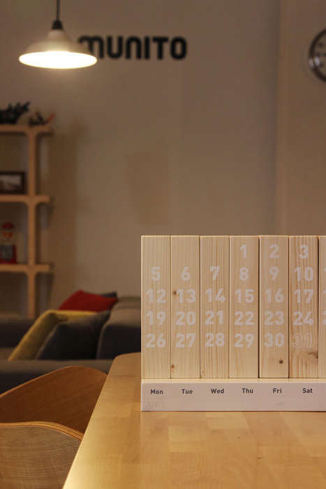Wooden Eco Calendars - The Wood Calendar Juxtaposes Wasted Timber with the Permanence of Time