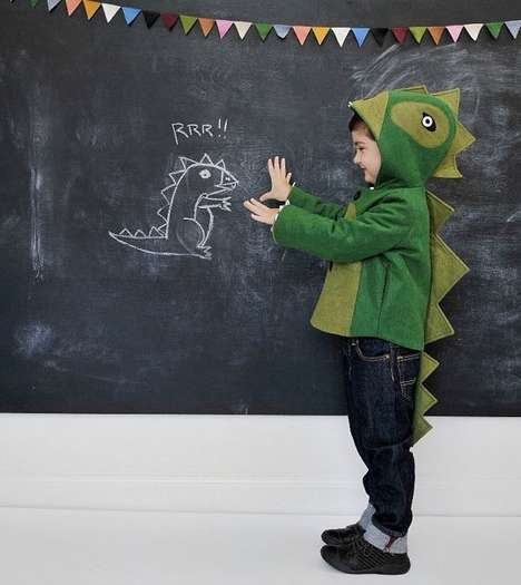 green dinosaur kids coat