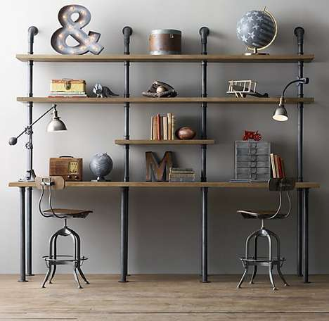 Antique-Inspired Pipe Desks - This Industrial Pipe Desk & Shelving Unit is a Convenient Space Saver
