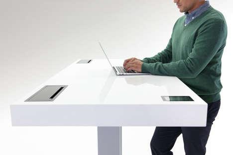 Strategically-Adjusting Standing Desks - The Stir Kinetic Desk Monitors People's Working Habits