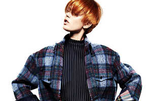 Frida Gustavsson Poses Playfully in 'Pretty in Plaid'