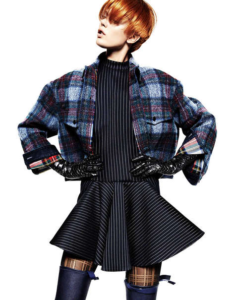 Checkered-Themed Fashion Shoots - Frida Gustavsson Poses Playfully in 'Pretty in Plaid'