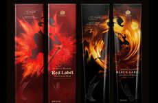 Blazing Whiskey Branding - Johnnie Walker Packaging Has a Fiery Flavor to Reference Its Contents