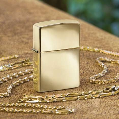 Gold Luxe Lighters - The 18 KT Solid Gold ZIppo Lighter is a Luxurious Accessory
