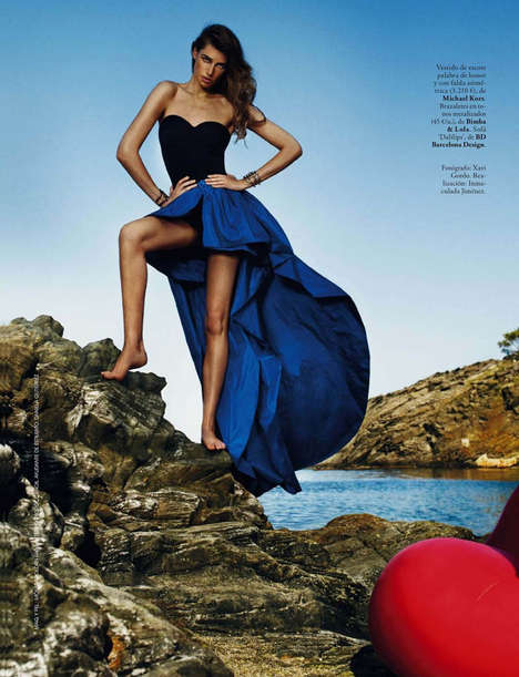 Glamorous Cliffside Shoots - This Elle Spain October 2013 Editorial is Fiercely Sunny